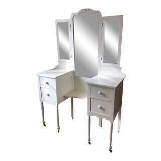 1930s Cottage Style Ivory Vanity For Sale