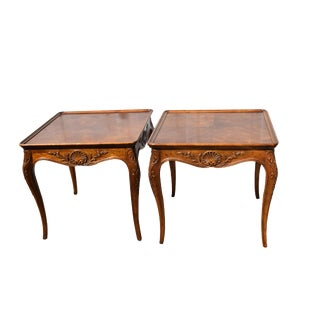 1980s Vintage Henredon French Provincial Country Walnut Side Tables-A Pair For Sale
