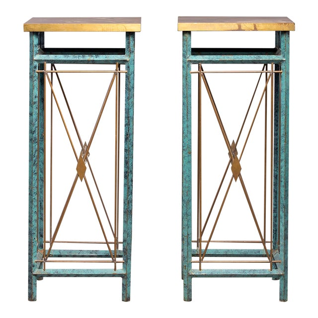 Neoclassical Style Verde Green Metal Statue Stands - a Pair For Sale