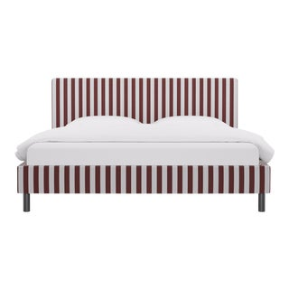 King Tailored Platform Bed in Port Cabana Stripe For Sale