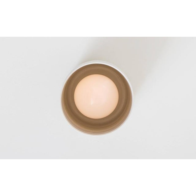 Current Contemporary Surface White Porcelain & Brushed Brass Flush Mount Ceiling Light For Sale - Image 4 of 9