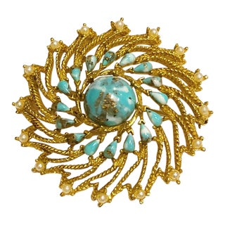 Sarah Coventry Vintage Large Spiral Gold, Turquoise and Pearl Brooch For Sale