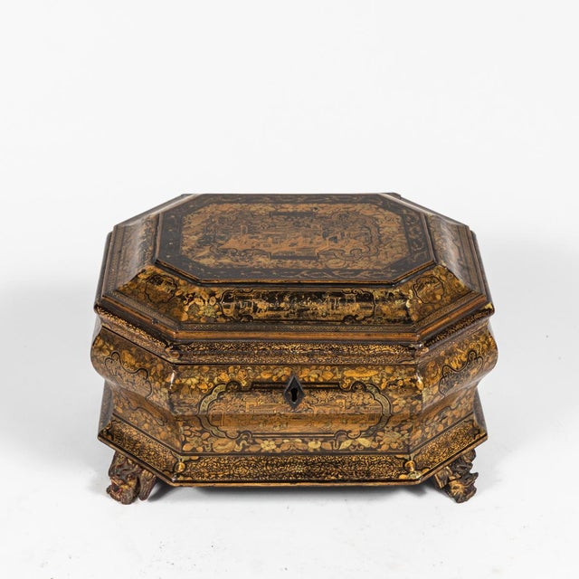 Early 19th Century Early 19th Century Chinese Export Lacquer Box on Carved Feet For Sale - Image 5 of 6