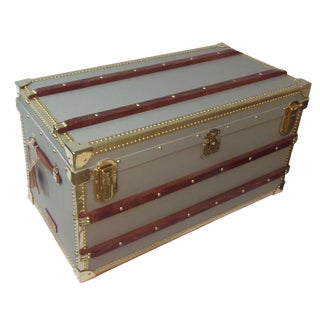 Custom Built Steamer Trunk With Brass Details For Sale