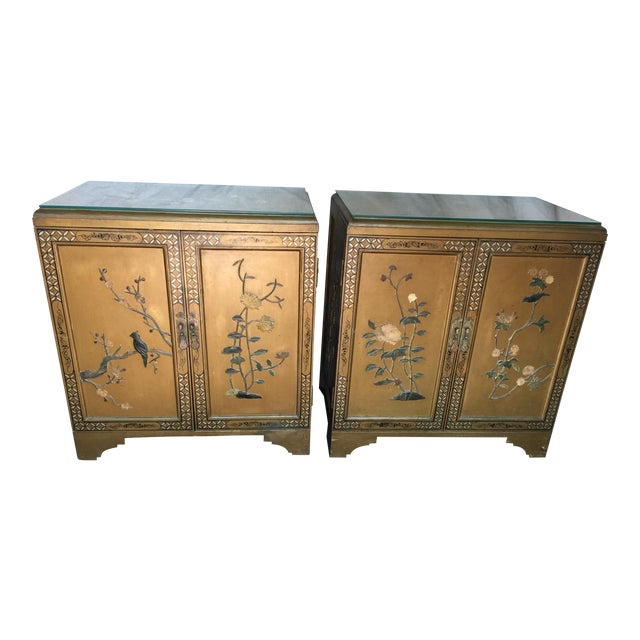 Pair Hollywood Regency Chinese Chinoiserie Chests With Hardstone Decoration For Sale