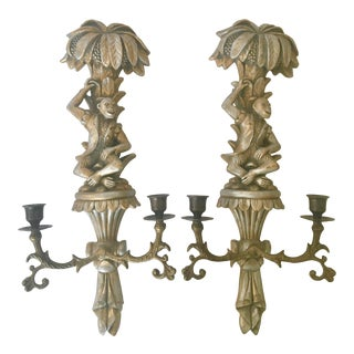 Vintage Mid-Century Brass and Carved Wood Sconces - a Pair For Sale