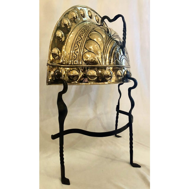 English Traditional Antique Brass and Hand Wrought Iron Fireplace Curfew, Circa 1840. For Sale - Image 3 of 4
