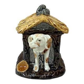 1880 Choisy-Le-Roi French Majolica Dog in a Kennel Box For Sale