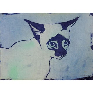 Siamese Cat Blue Batik Portrait Drawing