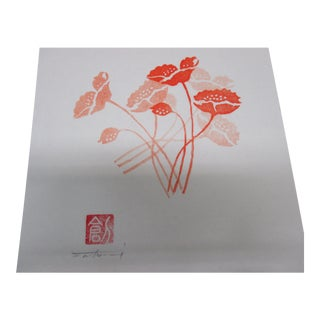Vintage White, Pink and Red Asian Lithographed of Flowers For Sale