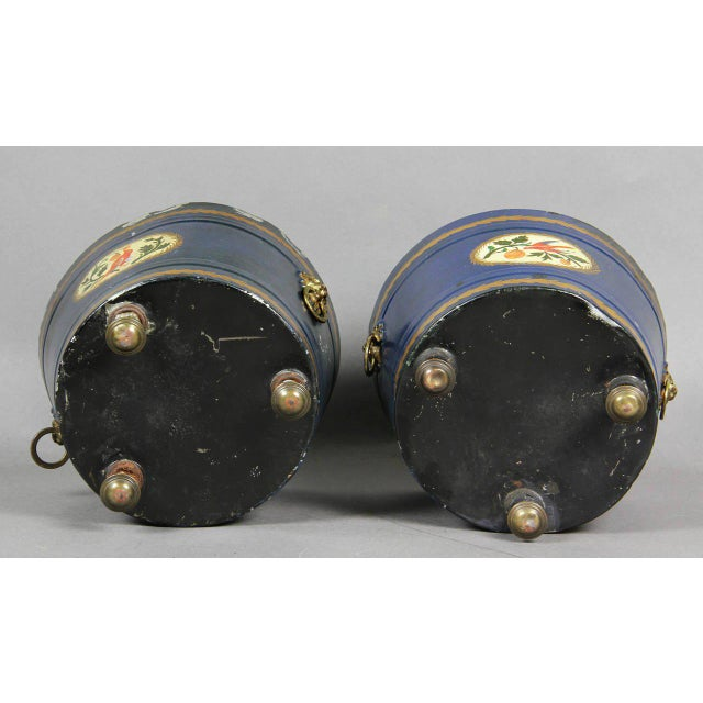 Pair of Swedish Tole Peinte Covered Barrels For Sale - Image 10 of 12