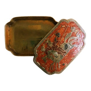 Brass and Enamel Trinket Box For Sale