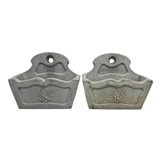Concrete Garden Wall Pockets - A Pair For Sale