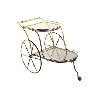 Mid-Century Brass Two-Tiered Trolly Bar Cart For Sale