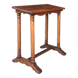 1950s Mission Style Oak Book Holder Table For Sale