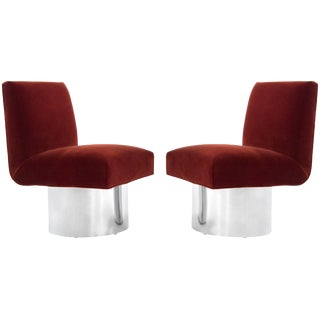 Milo Baughman Swivel Chairs on Drum Nickel Bases For Sale