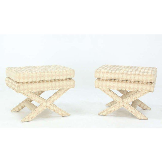 Green Pair of Mid-Century Modern X-Base Billy Baldwin Benches For Sale - Image 8 of 10