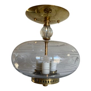 1950s Etched Glass Ceiling Light For Sale