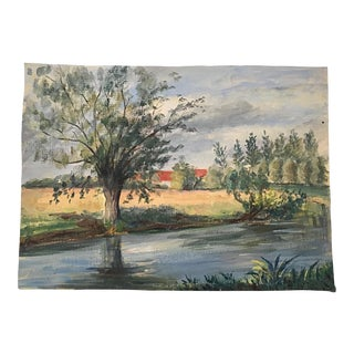 Late 20th Century Vintage French Landscape on Canvas For Sale