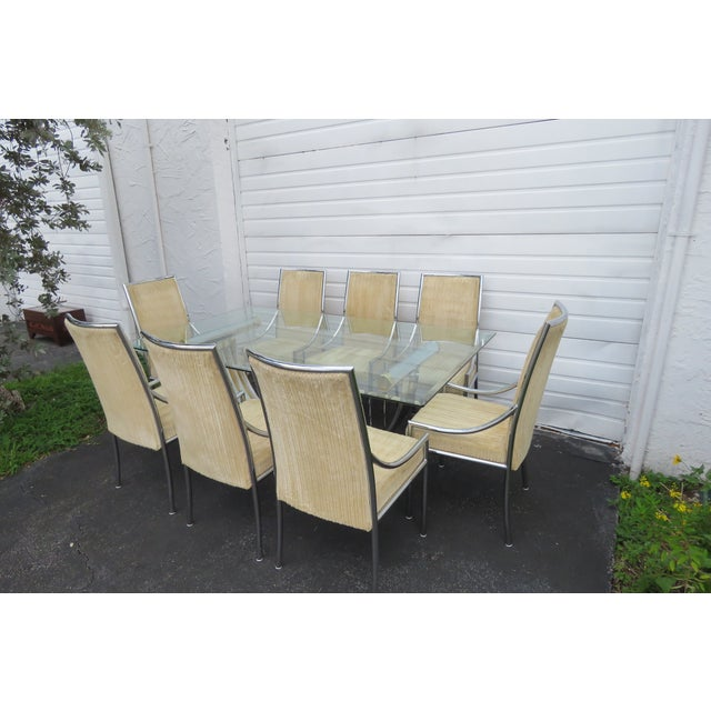 Hollywood Regency Glass Top Dining Table With Eight Chairs by Basset For Sale - Image 13 of 13