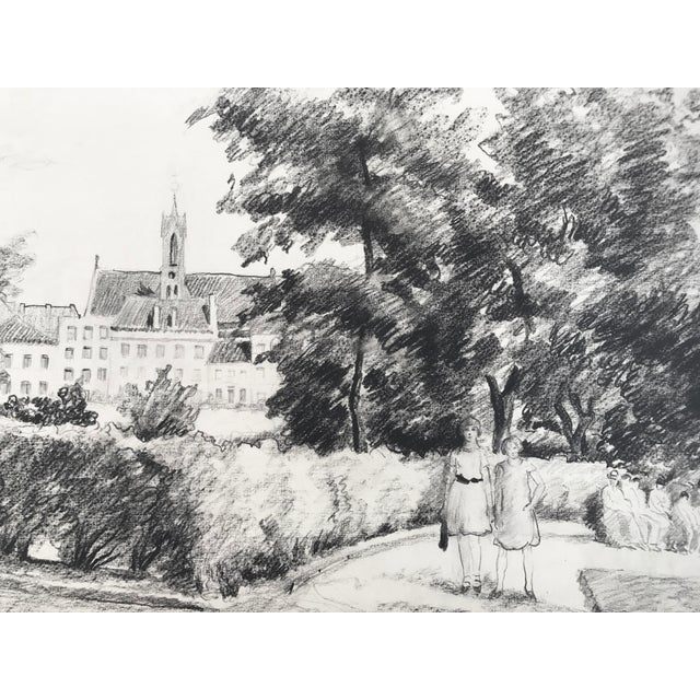 Graphite drawing of two girls in park like setting with a large building, possibly a university, in the background. Wear...