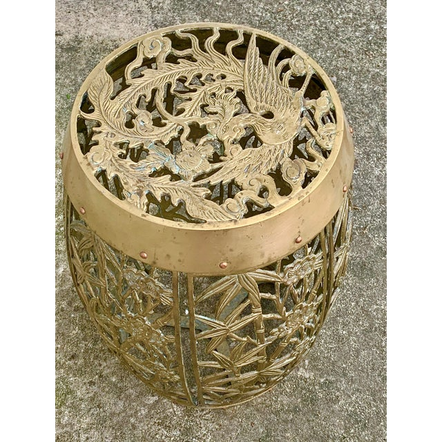 Vintage Brass Faux Bamboo and Fretwork Design Garden Stool For Sale In New Orleans - Image 6 of 13