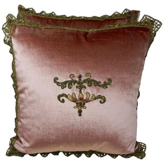 Custom Pink Velvet Appliqued Pillows by Melissa Levinson For Sale