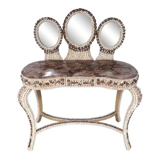 Neiman Marcus Shell and Abalone Covered Vanity or Desk For Sale