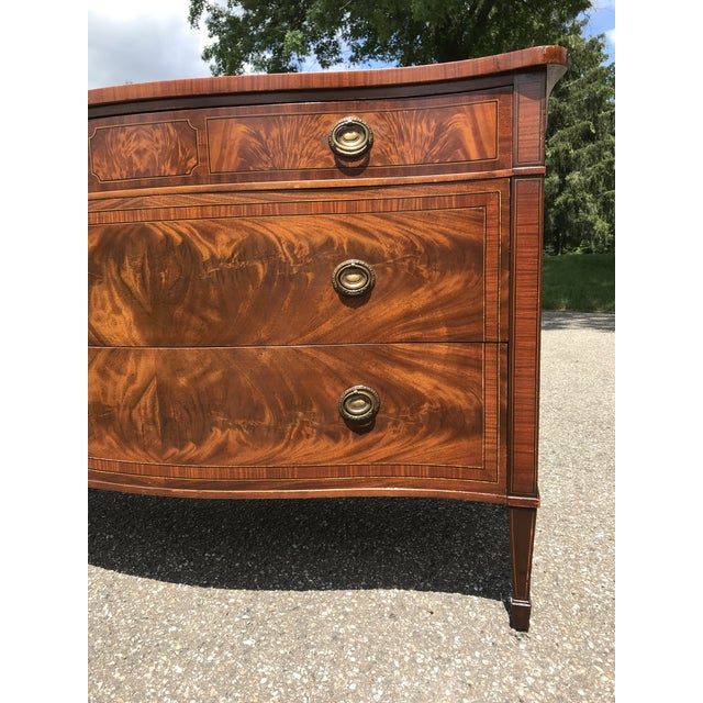 Mid 20th Century Burled Walnut Bow Front Dresser by John Widdicomb For Sale - Image 5 of 13