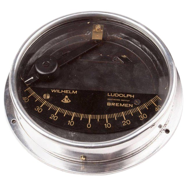 Chrome Ship's Clinometer by W. Ludolph, 1980s For Sale