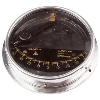 Chrome Ship's Clinometer, W. Ludolph, 1980s For Sale