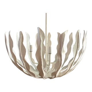 Sculptural Plaster White Seaweed Chandelier Pendant Light For Sale