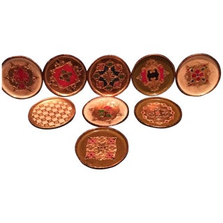 Vintage Florentine Coasters - Set of 9