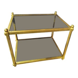 Maison Jansen Style Mid Century Modern Brass and Smoked Glass Side End Table For Sale