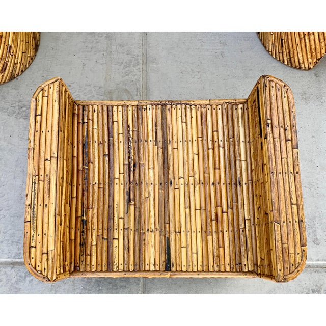 Stacked Bamboo Club Chairs and Ottoman in the Manor of Gabriella Crespi - Set of 3 For Sale - Image 9 of 10