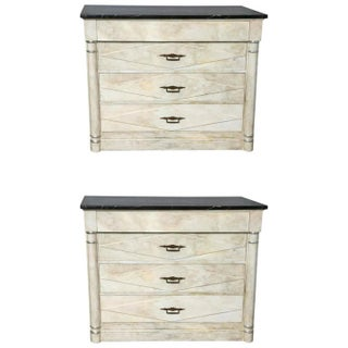 Faux Painted Marble Top Dressers- A Pair For Sale