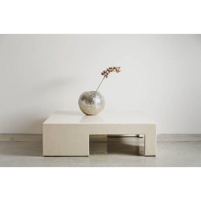 Robert Kuo Low Square Table With Alternate Legs - Cream Lacquer by Robert Kuo, Limited Edition For Sale - Image 4 of 5