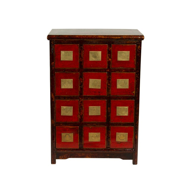 Chinese Traditional Medicine Apothecary Cabinet With Recessed Pulls For Sale - Image 4 of 4