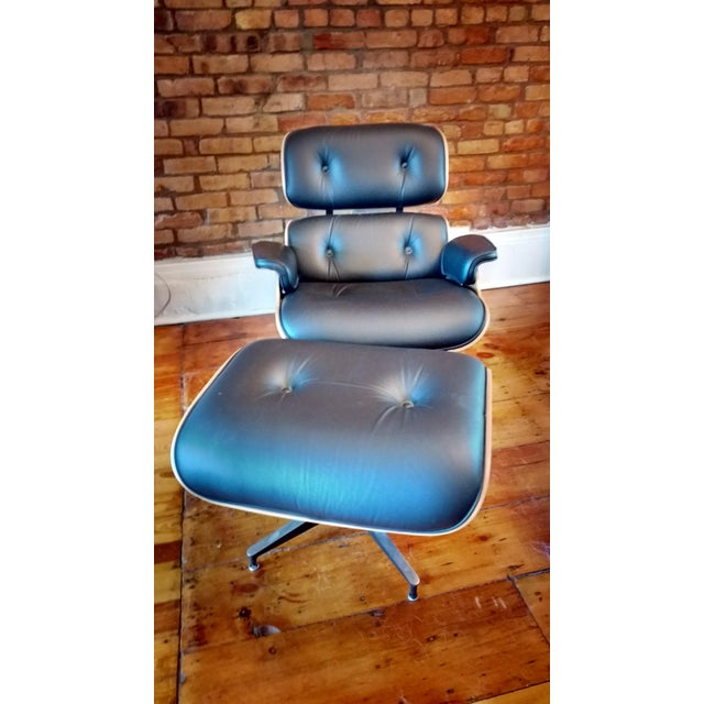 Eames Lounge Walnut & Black Leather Chair & Ottoman - Image 7 of 8