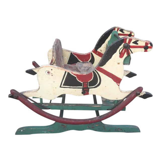 Late 1800s Victorian Double Rocking Horse For Sale