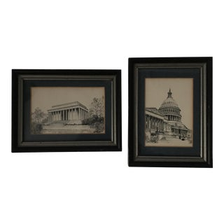Vintage US Capitol drawings - A Pair