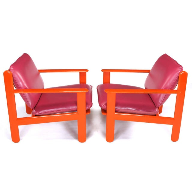 Italian Pair of Italian Persimmon and Magenta Lounge Chairs For Sale - Image 3 of 10