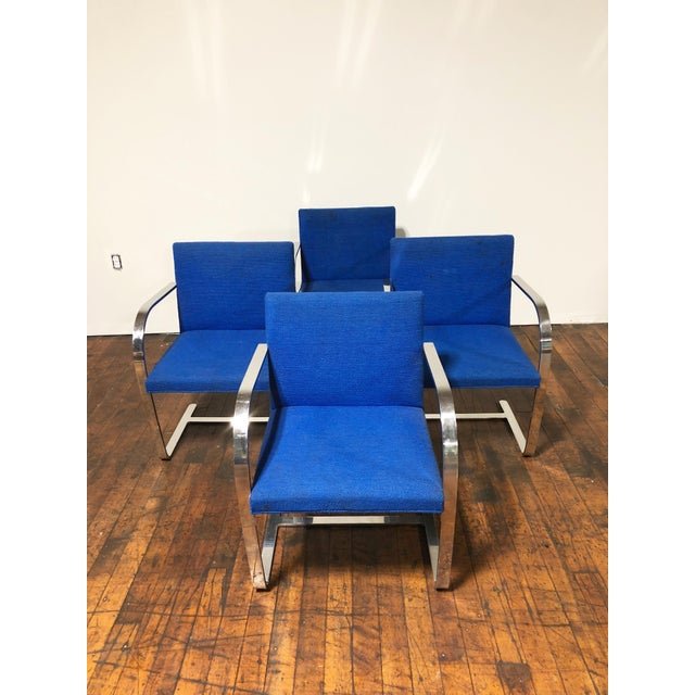 1970s Original Mies Van Der Rohe for Knoll Solid Steel Flat Bar Brno Dining Chairs - Set of 4 For Sale In Boston - Image 6 of 13