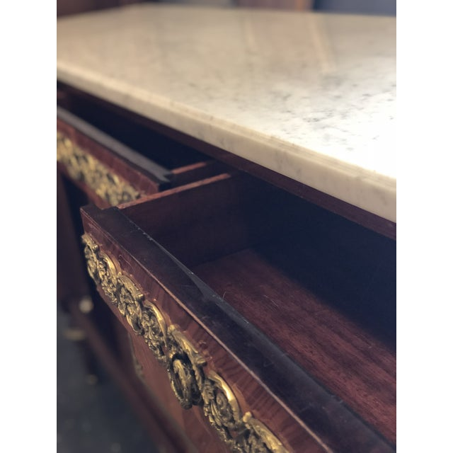 French Louis XVI Mahogany Marble Top Enfilade For Sale - Image 4 of 9