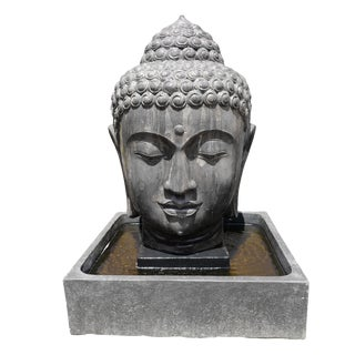 Cast Faux Stone Buddha Head Fountain