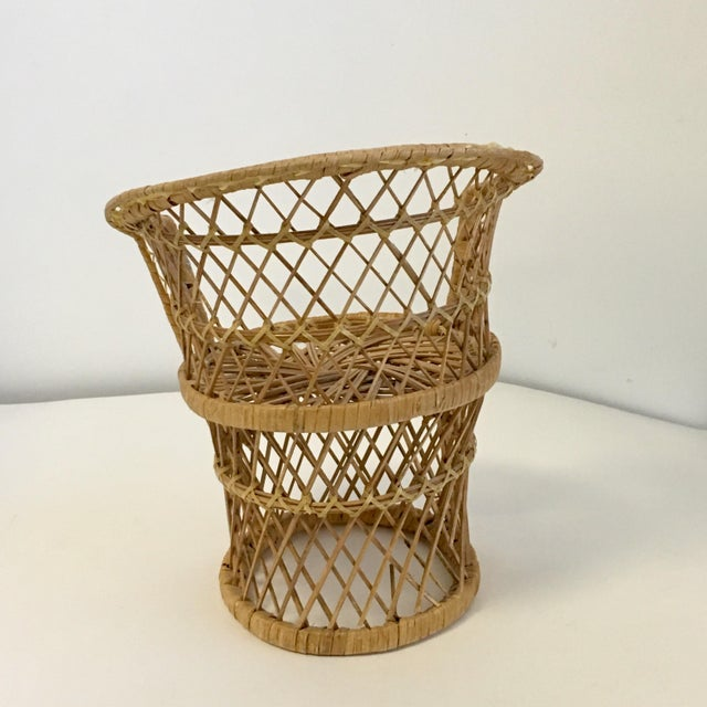 Vintage Boho Wicker Chair Plant Stands - A Pair For Sale - Image 6 of 7