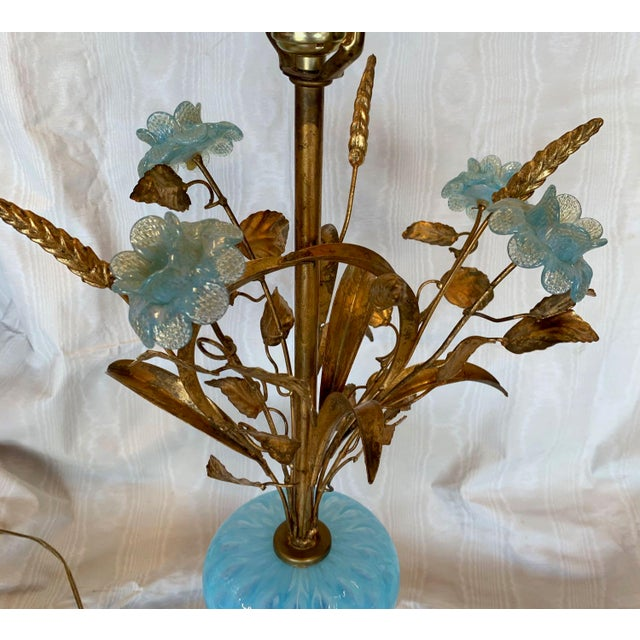 Metal Mid 20th Century Murano Floral Bouquet Lamp For Sale - Image 7 of 11