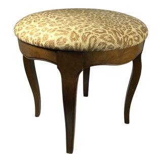 Vintage Leopard Upholstered Vanity Stool For Sale