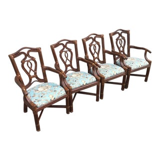 1980s Broyhill Vintage Leather Bound Rattan Chairs- Set of 4 For Sale