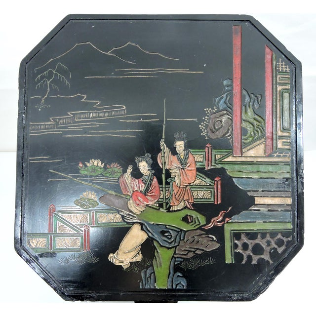 Wood Vintage Chinese Black Lacquer 'Lotus Lake' Floral Stool / Side Drinks Table For Sale - Image 7 of 8